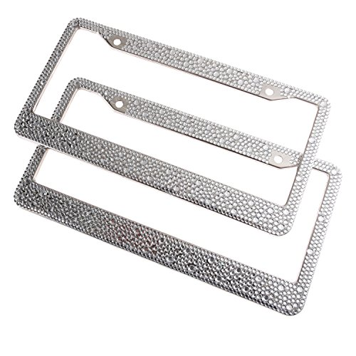Luxury Handmade Mixed Size Clear Bling Crystal License Plate Frame Cute Rhinestone Car/Truck/SUV License Plate Holder(2 Frames) ()