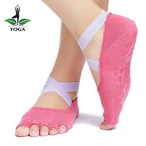 Yoga Socks Grip Non Slip for Women Sticky Anti-Skid Half Toe, Pilates, Ballet, Barre, Yoga Accessories from Jenbou