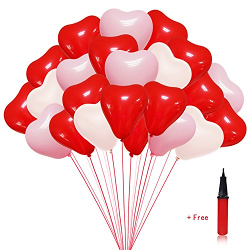 Party Decorations Heart Shaped Balloons 100 pcs 12 inches Latex Balloons for Wedding Decoration, Valentine Party, Baby Shower with a Hand Held Air Inflator, Decorations for Anniversary Party