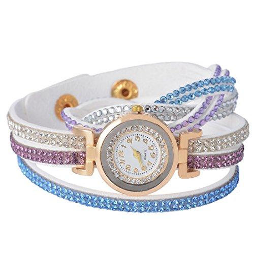 Loweryeah Womens White Color Rhinestone Band Quartz Analog Wrist Watch 39cm