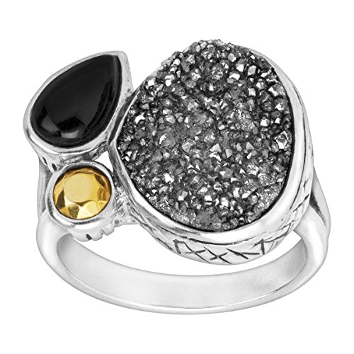 Silpada 'Crystal Cave' Agate, Brass, Druzy, and Sterling Silver Ring, Size 10