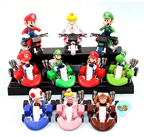 10PCS Super Mario Kart Mario Luigi Pull Back Car & Bike Figure Toy Set Gift (Mario Kart Costumes Daisy)