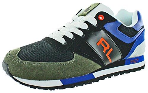 Polo Ralph Lauren Men's Slaton RL Fashion Sneaker, Black/Rescue Orange, 8.5 D - Polo Rl