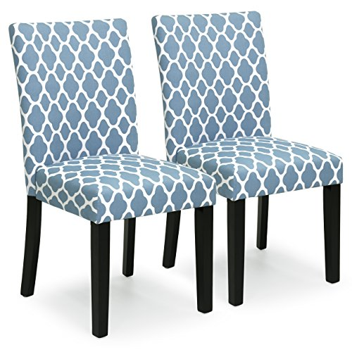 Best Choice Products Set of 2 Mid-Century Modern Fabric Parson Dining Chairs - Blue (Chair Set Parsons)