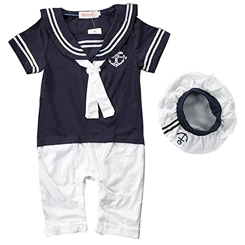 Celebrity Infant Costumes (Carrillos Baby Anchor Sailor Navy Striped Romper &Hat Outfit,Navy,18-24M,Tag:95)