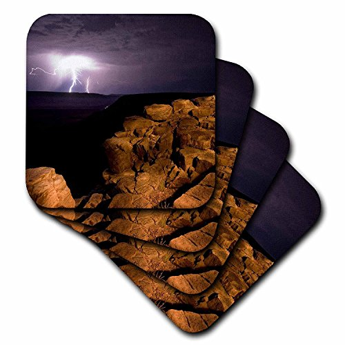 3dRose CST_73000_2 Namibia, Fish River Canyon Np, Storm, Lightning Strikes-AF31 PSO0136-Paul Souders-Soft Coasters, Set of ()