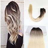 Cheap BeautyMiss 22″ Human Remy Hair Tape in Hair Extensions Balayage Ombre Hair Extensions Glue in Hair Weave Dip Dyed Hair Color #3 Dark Brown and #8 Brown Fading to #613 Bleach Blonde 20pcs/50g