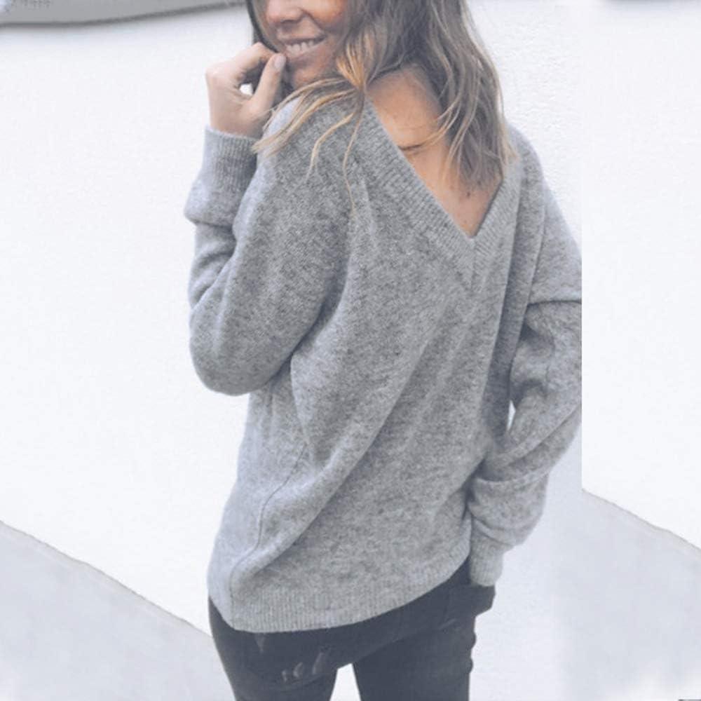 Shujin Femmes Pulls T-Shirt Deux C/ôt/és V Col Pullover Solide Couleur Unie Sweater Chandail Manches Longues Automne Tops Hauts Courte Chemise Slim