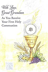 Amazon with love great grandson as you receive your first with love great grandson as you receive your first holy communion greeting card m4hsunfo