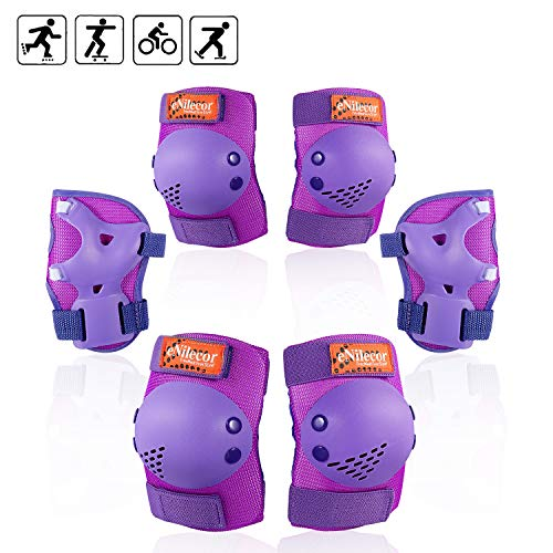 eNilecor Kids Knee Pads, Child Protective Gear Set, Toddler Knee Elbow Pads Wrist Guards for Skateboarding Cycling Roller, Rollerblade, Skates, Skateboards,Scooters(Purple, Small)