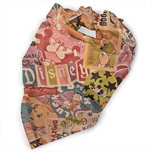 Custom Made Pet Dog Bandanas,Pure Cotton Reversible Triangle Bibs Scarf-Disney Wdw Dlr Mickey Bambi Dumbo Mermaid Classic Art Supreme Pattern Pattern Printing Colorful -