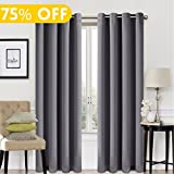 99% Blackout Window Curtain Panel Grommet Top Drapes 2 Panel Set Room Darkening Thermal Insulated Blackout Drapes for Bedroom (W52 x L84,Dark Grey)
