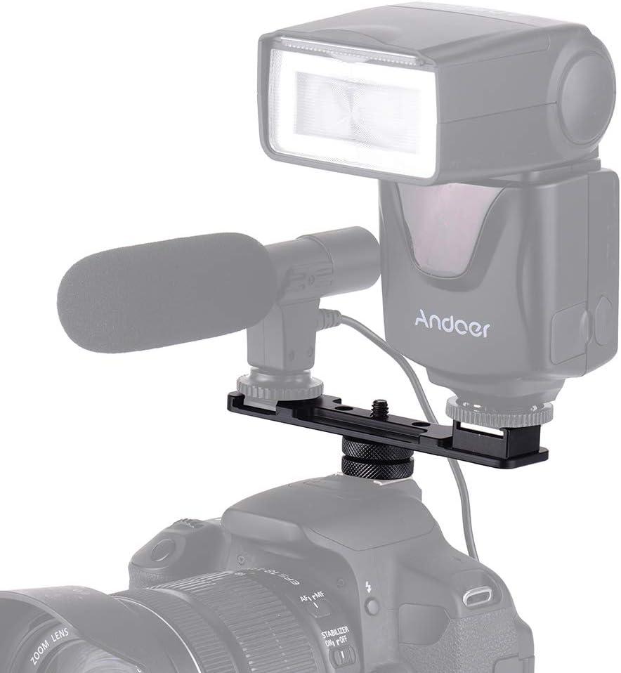 1//4 Screw Dual Hot Shoe Mount Bracket Aluminum For Nikon Sony Canon SLR Camera
