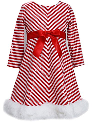 Bonnie Jean Girls Sequins Striped Holiday Christmas Santa Dress, Red, 3T (Santa Overalls)