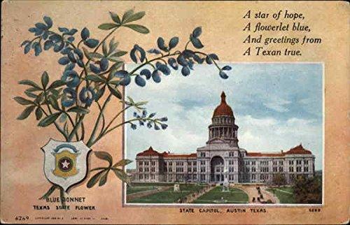 Vintage Postcard Flowers - View of State Capitol, Flower, and Shield Austin, Texas Original Vintage Postcard