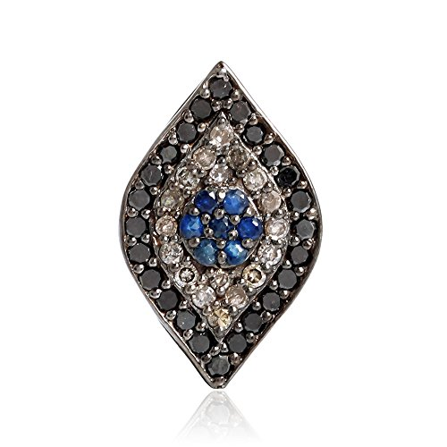 0.15 ct Sapphire Diamond 14kt Gold Silver Marquise Shape Spacer Finding Jewelry by Jaipur Handmade Jewelry