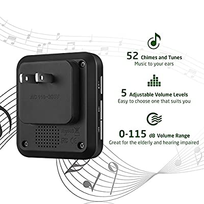 AVANTEK CB-11 Mini Wireless Doorbell for Home, Waterpoof Doorbell Chime Operating at 1000 Feet with 52 Melodies, 5 Volume Levels & LED Flash (black)