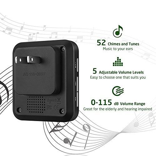Wireless Door Bell, AVANTEK Mini Waterpoof Doorbell Chime Operating at 1000 Feet with 52 Melodies, 5 Volume Levels & LED Flash by AVANTEK (Image #1)
