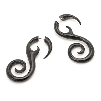 81stgeneration Women's Men's Black Horn Fake Taper Stretcher Spiral Twist 16 Gauge Tribal Earrings PIhUm9G