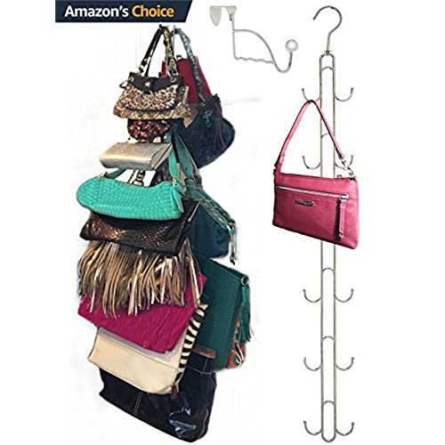 Over Door Hanging Purse Storage Organizer   HEAVY DUTY CHROME, Holds 50lbs,  ROTATES 360 For Easy Access; Purses, Handbags, Satchels, Crossovers, ...