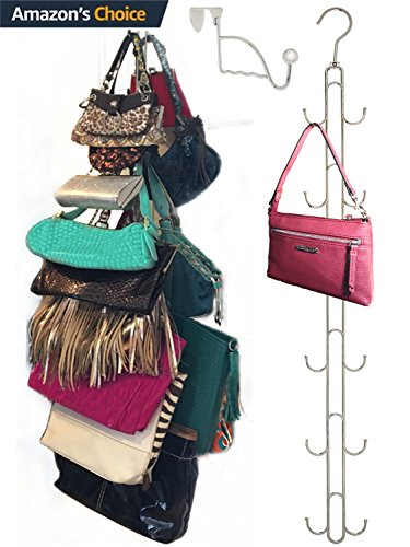 Over Door Hanging Purse Storage Organizer - HEAVY DUTY CHROME, Holds 50lbs, ROTATES 360 for easy access; Purses, Handbags, Satchels, Crossovers, Backpacks,12 Hooks, (Handbag Rack)