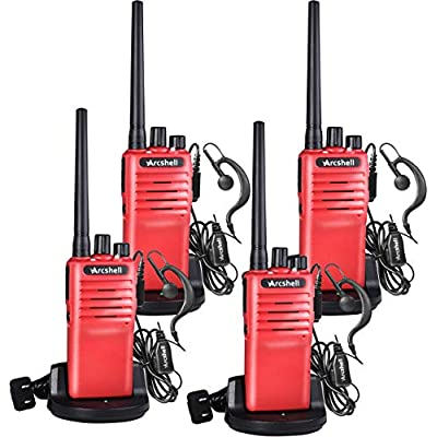 Arcshell Rechargeable Long Range Two-Way Radios with Earpiece 4 Pack UHF 400-470Mhz Walkie Talkies Li-ion Battery and Charger Included: Car Electronics