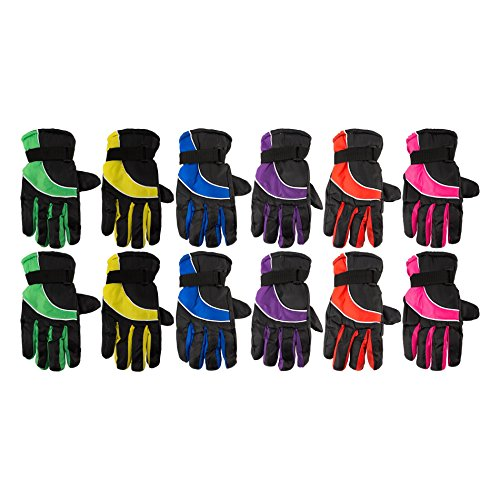 12 Pack of excell Womens Winter Warm Waterproof Ski Gloves, One Size Fits - Ski Wholesale