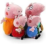 TopPeppa cochon peluche famille 4pcs set cochon Papa Mama de 30cm et 19cm George Peppa Pig comme un cadeau