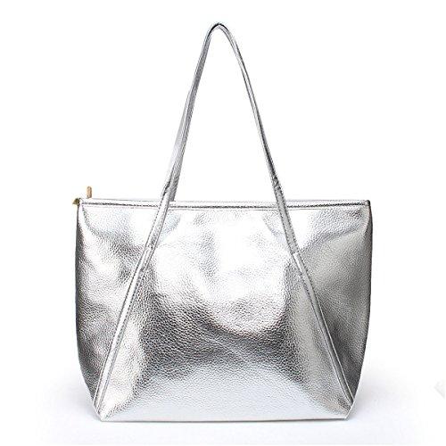 Women's Tote Handbags - OURBAG Large Fashion Designer Elegant Shoulder Bag Purses for Ladies (Gold Silver Bag)
