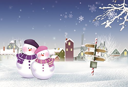 Minishot 7x5ft Merry Christmas Cartoon Photography Backdrop Snow Covered City Photobooth Background Snowman White World Photo Booth Candy Cane Urban Building Happy New Year Kid Portrait Shoot Drop (Merry Christmas And Happy New Year In German)