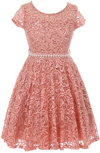 BNY Corner Big Girl Cap Sleeve Floral Lace Glitter Pearl Holiday Party Flower Girl Dress Rose 16 JKS 2102]()