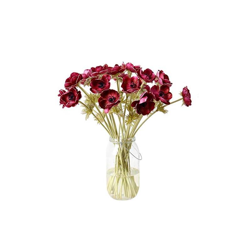 silk flower arrangements calcifer 5 pcs 51 cm pu anemone artificial flowers bridal holding flowers bouquet home garden wedding party wall living room decoration (wine red)