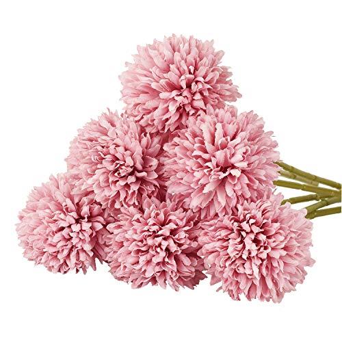 DearHouse Artificial Flowers, 7 Pcs Fake Flowers Silk Artificial Hydrangea Bridal Wedding Bouquet for Home Garden Party Wedding Decoration (Deep - Pink Flower Deep