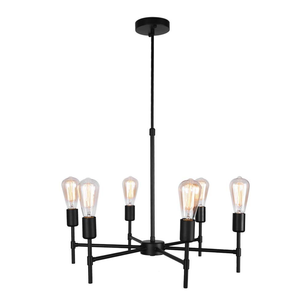 OYI 6 Flammig Kronleuchter Vintage Retro Pendelleuchte Innen Hängelampe Schwarz Metall E27 Lampenfassung für Wohnzimmer Schlafzimmer Esszimmer Küche