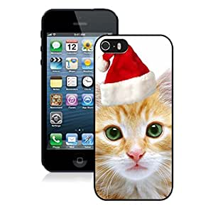Custom-ized Cute Red Christmas Hat Cat 4 Black Phone Case For Iphone 5s,Iphone 5 TPU Case,Apple Iphone 5s