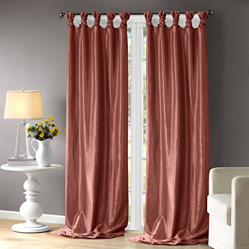 (Madison Park Emilia Room-Darkening Curtain DIY Twist Tab Window Panel Black Out Drapes for Bedroom and Dorm, 50x108,)