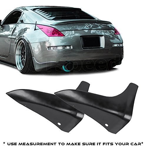 GTSpeed Made for 03-09 Nissan 350Z Fairlady Z Z33 JDM Rear PU Bumper Lip Mud Splash Guards (Use measurement to make sure it fits your car)