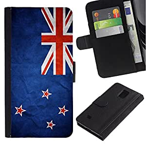 Be Good Phone Accessory // Caso del tirón Billetera de Cuero Titular de la tarjeta Carcasa Funda de Protección para Samsung Galaxy Note 4 SM-N910 // National Flag Nation Country New Z