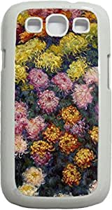 Claude Monet's Flower Bed- Case for the Samsung Galaxy S III-S3- Hard White Plastic Snap On Case