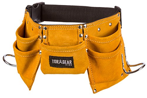 [Childs Leather Tool Belt - Suede Leather Working Tool Pouch for Youth Dress Up and Costume] (Construction Girl Costume)