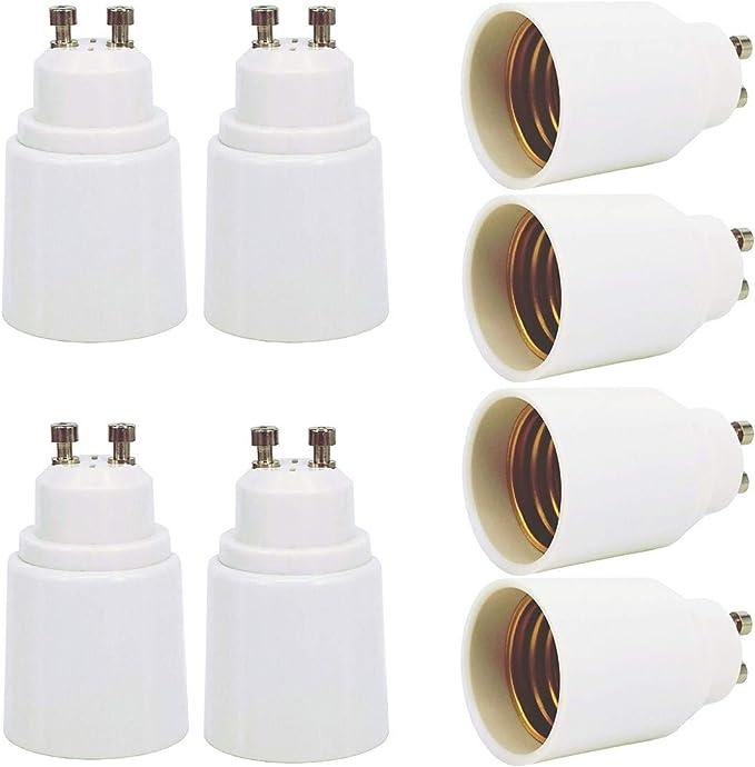 Zdcdj 8pcs Gu10 Adapter Gu10 Auf E27 Lampensockel Adapter Konverter Gu10 Auf E27 Lampensockeladapter Für Glühlampen Led Halogen Energiespar Lampen Beleuchtung