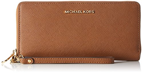 Jet Set Continental Wallet (Michael Kors Women's Jet Set Travel Leather Continental Wristlet, Luggage, OS)