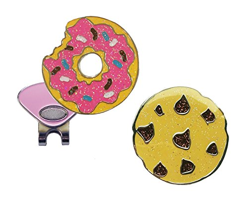 (Navika Donut and Cookie Glitzy Ball Marker Combo with ONE Magnetic Hat Clip)