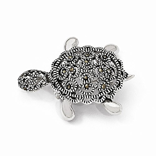 Sterling Silver Turtle Pin (Sterling Silver Marcasite Turtle Pin)