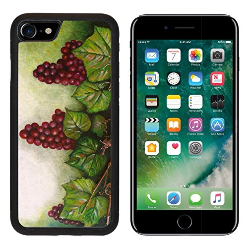 (Liili iPhone 7 Case and iPhone 8 Case Silicone Bumper Shockproof Anti-Scratch Resistant Tempered Glass Hard Cover Colourfull original oil painting showing a grapevine Photo 6361706)
