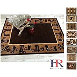 Handcraft Rug – Lodge, Cabin Nature and Animals Area Rug – Geometric Pattern Cabin Area Rug – Abstract, Chocolate/Beige-Cowboy Boots/Cowboy Hat (4x5 feet)