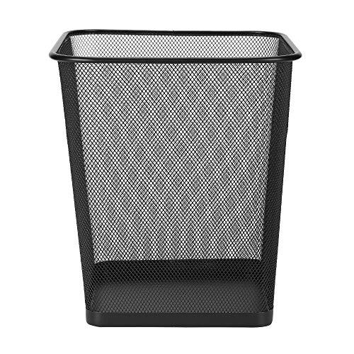 XiSHUAi Mesh Wastebasket Trash Can, Square 4.5 Gallon, Black (1 -