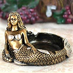 T2C:Mermaid Ashtray Ornaments Table Ashtray Cigar Ash Tray Vintage Fashion Creative Unique Resin [gold] Home Decoration Décor Crafts Gifts