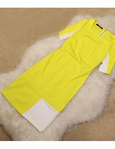 PU&PU Robe Aux femmes Gaine Vintage / Travail , Couleur Pleine Col Carré Au dessus du genou Mélanges de Coton , yellow-l , yellow-l