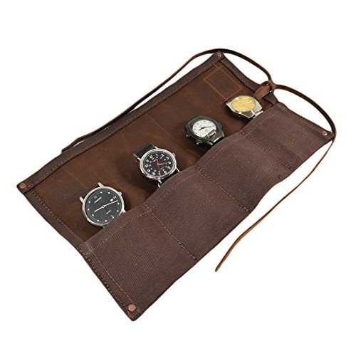 - Waxed Canvas Travel Watch Roll Organizer Holds Up to 4 Watches Handmade by Hide & Drink :: Honey Bourbon